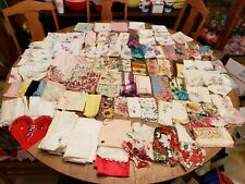 Lot 101 Vtg Hankies Floral Nylon Silk Scallop Wedding Christmas Valentines Mom