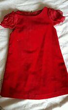RED VELVET DRESS WITH FLOWER SLEEVES 3T
