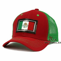 MEXICAN hat PVC MEXICO Flag Patched Pique Snapback Mesh Baseball cap- Red/Green