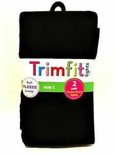 Trimfit Black Tights Two Pair Soft Fleece Lining Size Large 10-14 Weight 74-110