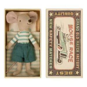 Maileg Matchbox Mouse - Big Brother Mouse in Box Striped Shirt