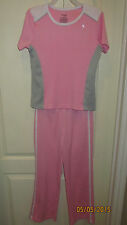 Youth Large 10 12 Danskin Now Pink Gray Casual Athletic SS Shirt & Pants Outfit