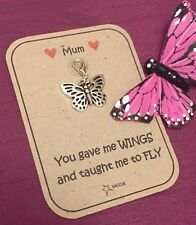Mothers Day Gift Butterfly Wings Personalised Key ring Clip Charm Saccos