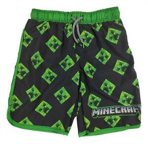 Boys Large 10-12 Minecraft Swim Trunks Swim Shorts Creeper Faces Kids Swimwear
