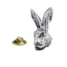 Hare Head Pewter Lapel Pin Badge
