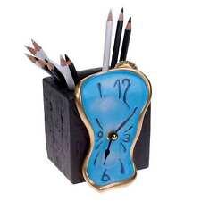 Orologio da tavolo azzurro portamatite in resina decorata a mano Made in Italy
