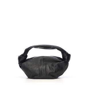 BOTTEGA VENETA 1250$ Black Calfskin Mini Pouch Top Handle Bag