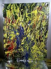 ORIGINAL CANVAS Authentic HAND PAINTED Painting Artist MUSK YAI 16X20 ABSTRACT~