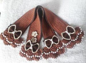 "Handle Covers Crochet Handmade Handbag Pearls White Cotton Beige Brown 12""×2""New"