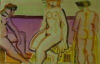"""Edvard Frank """"Drei weibliche Akte"""" datiert 1950, Aquarell, Nachlass"""