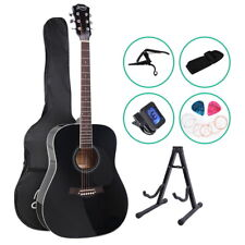 Acoustic Guitar Wooden 41 Inch Black with Accessories Set Accoustic Bag Stand