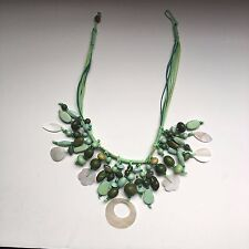 Costume Jewelry Handmade Beaded Necklace in Green with Petal Shaped Design
