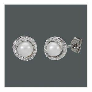 Ohrstecker Süßwasserzuchtperle mit Zirkonia 9,0 mm 1 Paar 925 Silber Ohrringe