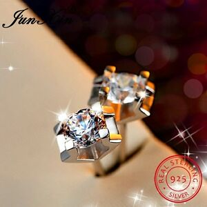 Square White crystal Topaz Sterling Silver stud earrings Dainty Small round