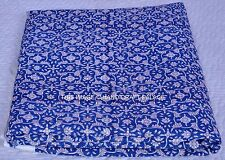 New 100% Indian Hand Block Print Cotton Blue Paisley Printed Netural Dye Fabric