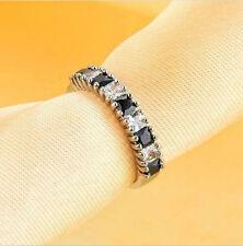 Woman Delicate Jewelry Black Sapphire & White Sapphire 925 Silver Ring SZ:10