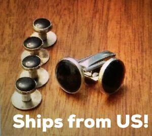 Mens Stainless Steel Round Tuxedo Shirt Cufflink Button Studs Set cuff link