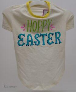 Happy Hoppy Easter Yellow Pet Dog T Shirt Size Medium up to 50 lbs NWT
