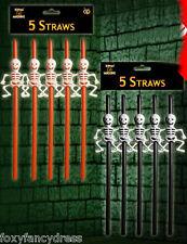 """Sale"" Skeleton Large Straws x 5 Spooky Halloween Fancy Dress Party Orange Black"