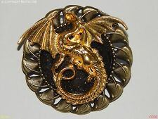 Steampunk jewellery badge brooch gold dragon Game of Thrones Harry Potter larp