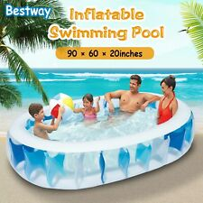 """90"""" Inflatable Swimming Pool Family Outdoor Backyard Summer Kid Water Play Fun"""
