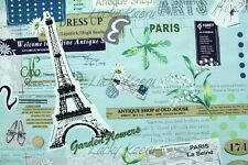Yuwa Suzuko Koseki Paris Eiffel Tower Color B Japanese Cotton Fabric Half Yard