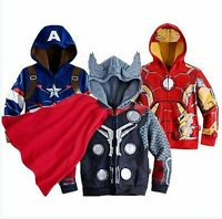 Kids Boys Coat Superhero Spider-Man Hoodie T-Shirt Tops Hooded Sweatshirt Jacket
