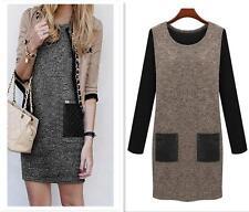 Hot Autumn Winter Women OL Slim Loose Long Sleeved Warm Bottoming Dress C382