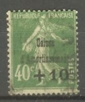 "FRANCE STAMP TIMBRE N° 253 "" CAISSE AMORTISSEMENT SEMEUSE 40c VERT "" OBLITERE TB"