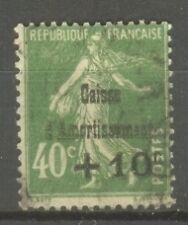 "FRANCE STAMP TIMBRE N° 253 "" CAISSE AMORTISSEMENT SEMEUSE 40c VERT "" OBLITERE TB"