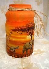 ♦ XXL Teelicht Windlicht Afrika Giraffen Elefant Handarbeit 23cm ♦ 7