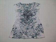 Davida Womens Size M Sheer Embellished V Neck Shirt Great Condition