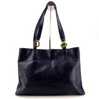 LANCEL 90's Vintage Leather Large Tote Shoulder Bag in Dark Blue - Made in Italy