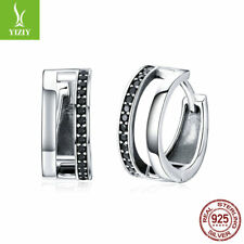 Authentic 925 Sterling Silver Pure Love Hoop Earrings Black CZ Shiny Jewelry New