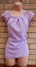 G21 Elegante Blusa De Fiesta Lila Crochet Detalle Túnica Top Cami Camisa 16 XL