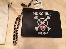 Moschino Couture X Jeremy Scott Skull Skelly 100% LEATHER CLUTCH BAG Handbag