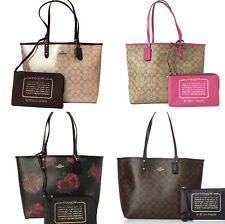 Coach F36658 F37807 Reversible City Tote Signature Floral Metallic