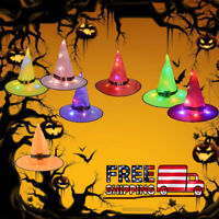 Halloween Witch Hats Light LED Decorations Hanging Glowing 8 Pcs Color Party Set