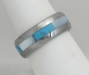 Mother of Pearl & Blue Turquoise Tungsten Carbide Comfort Fit Ring - 8mm Wide