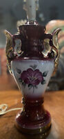 Vintage Victorian Table Lamp, Burgundy w/Floral in Front, Heavy Gilt Gold Accent