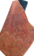 "Red Reversible Kani Wool Shawl.Burgundy Vines 82"" x 40"" Wrap Pashmina Moghul Art"