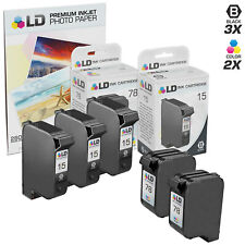 LD © Reman Ink Replacements 3x HP 15 C6615DN Black & 2x HP 78 C6578DN Color