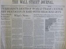 9 11 NEWS WSJ SEPTEMBER 12 2001 WALL STREET JOURNAL WORLD TRADE CENTER PENTAGON