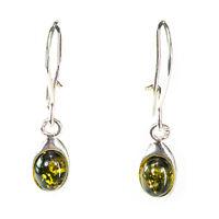 Genuine 100% Baltic Amber 925 Sterling Silver Dangle Drop Earrings | 3 colours