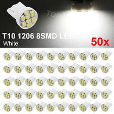 50X White T10 8SMD LED Bulb Car Side Wedge Interior Light 1206 2825 194 W5W 12V