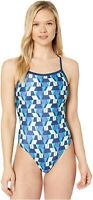 Speedo 252289 Women's Tile Shards Flyback Blue One-Piece Swimsuits Size 26