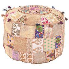 100% Cotton Ethnic Round Embroidered Cushion Cover Cotton Ottoman Pouf Décor