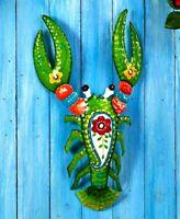 Colorful Tropical Lobster Metal Wall Art Hanging Sculpture Indoor/Outdoor Decor