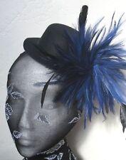navy blue feather black mini top hat fascinator headpiece fancy dress hair clip