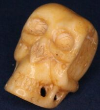 Vintage Bone carving Chinese? Skull charm pendant 18mm *[16388]